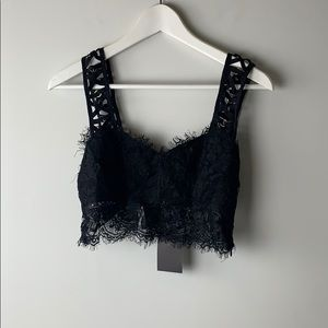 LF BSBW Crop Top Black Lace Size 8